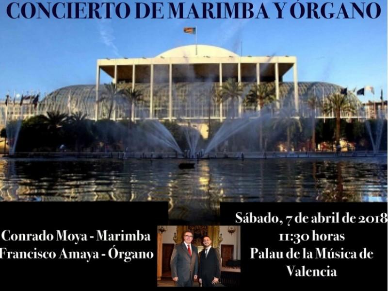 L'alcoià Francisco Amaya farà un concert d'òrgan i marimba, junt amb Conrado Moya en el Palau de la Música de València