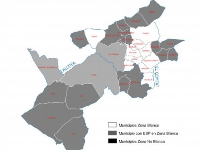 Mapa de Banda Ampla a les comarques de l'Alcoià i el Comtat, via conselleria d'Hisenda