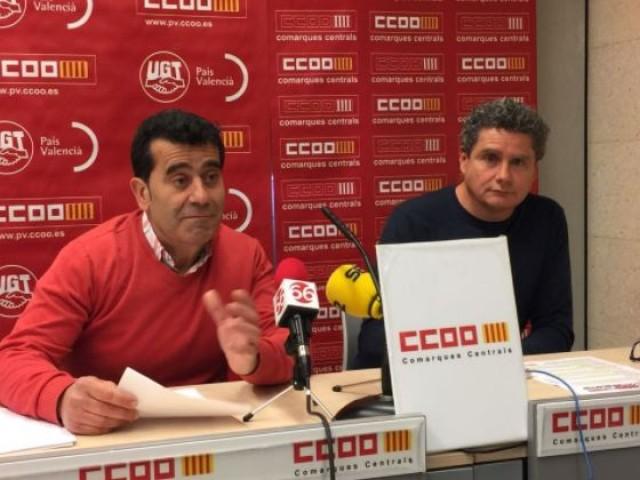 Tomás Sánchez i Raül Alcocel a la presentació de l'1 de maig a CCOO / AM
