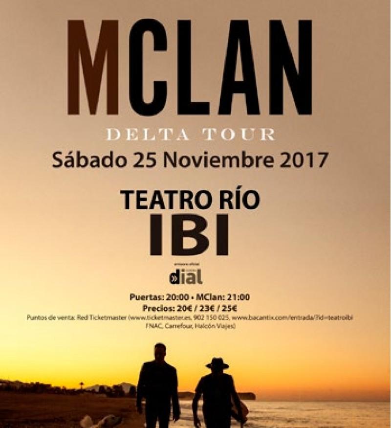 Teatre Rio d'Ibi tanca el mes de novembre amb el concert de Mclan 'Delta Tour'