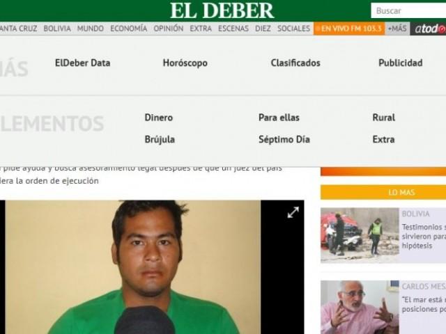 Noticia publicada a El Deber, un dels diaris més llegits a Bolivia