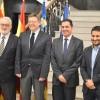Luis Boyer, Toni Francés, Ximo Puig i Vicent Marzà en la signatura del conveni / R. Lledó