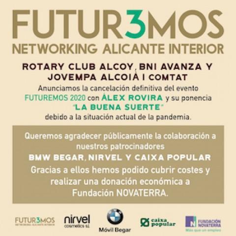 FUTUR3MOS cancela definitivamente el evento 'Álex Rovira y la buena suerte' y agradece a los colaboradores su apoyo