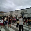 Imatges de les protestes a l'inici de curs, demanant l'inici de les obres del nou Bracal