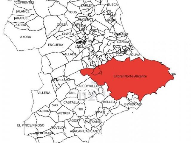 Mapa que mostra l'alerta roja a la zona de la comarca del Comtat.