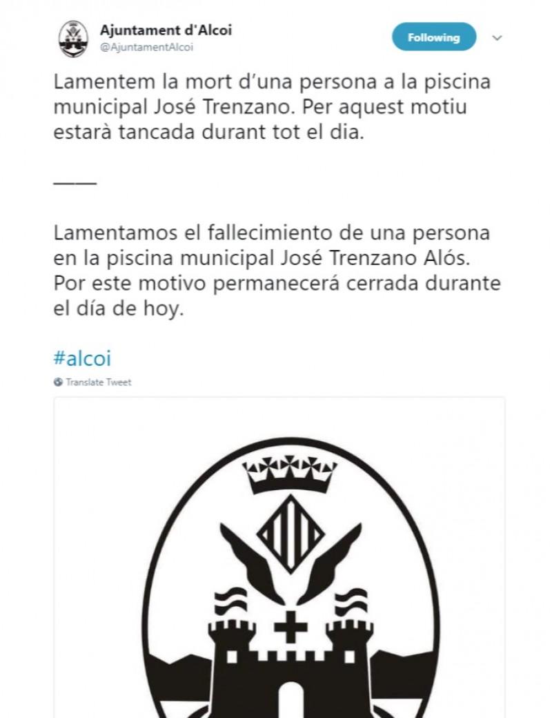El twitter de l'Ajuntament ha informat dels fets